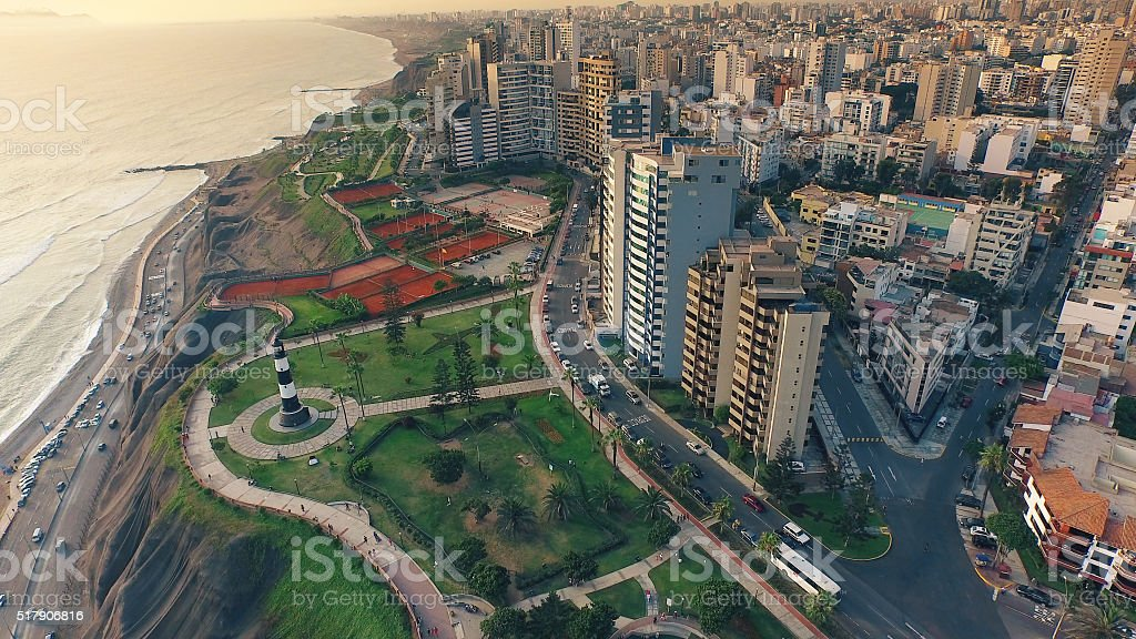 Aerial view of Lima Peru Miraflores cosatline cityscape stock photo
