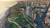 Aerial view of Lima Peru Miraflores cosatline cityscape