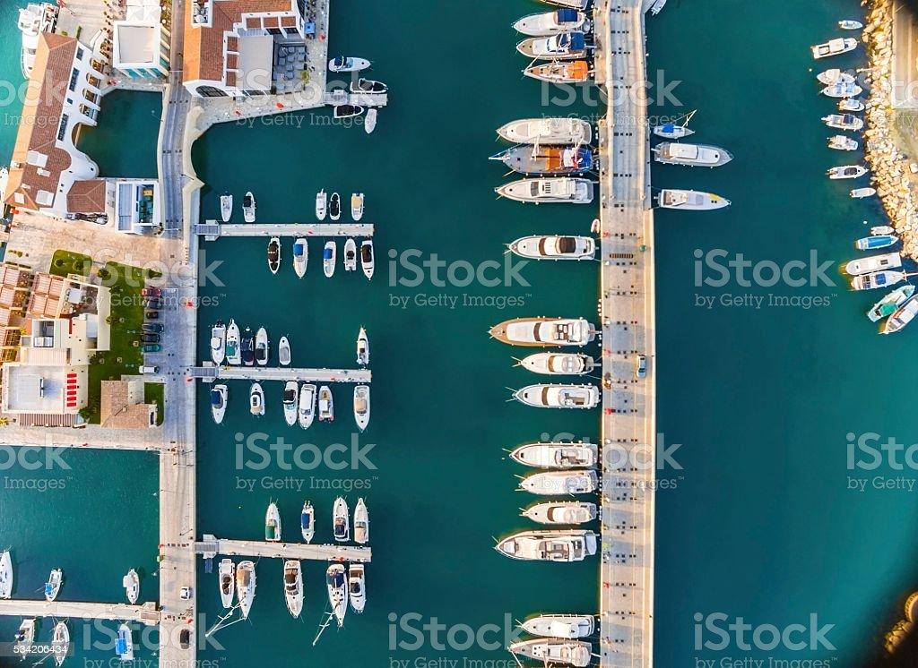Aerial view of Limassol Marina, Cyprus stock photo
