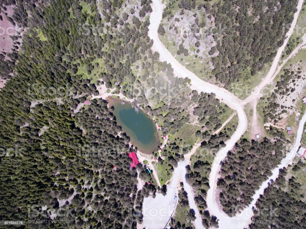 Aerial view of Limni lake in Trabzon stock photo