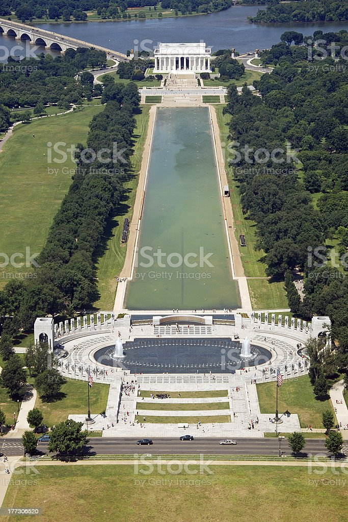 Aerial view of Lincoln memorial in Washington DC stock photo