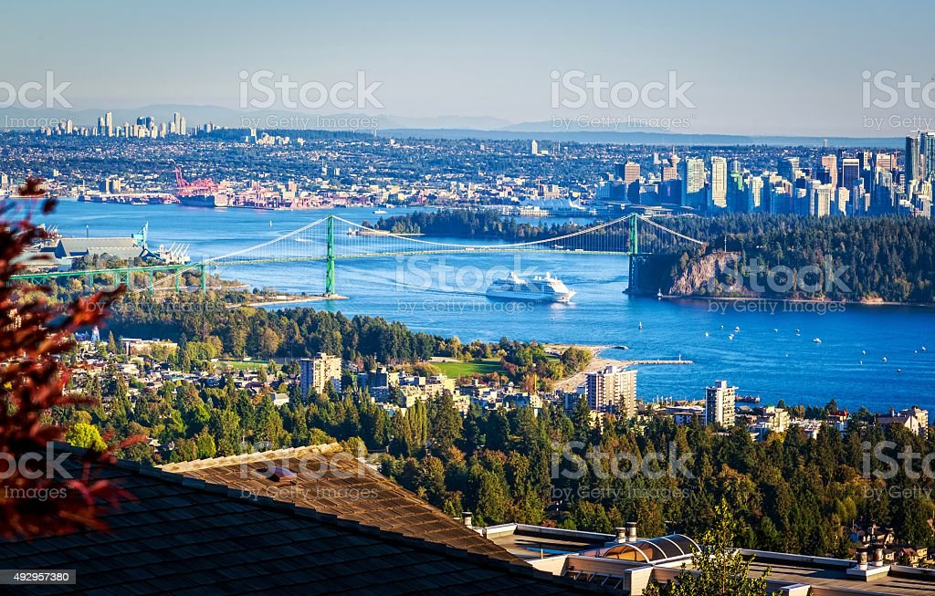 Aerial view of Lions Gate Bridge and Vancouver. stock photo