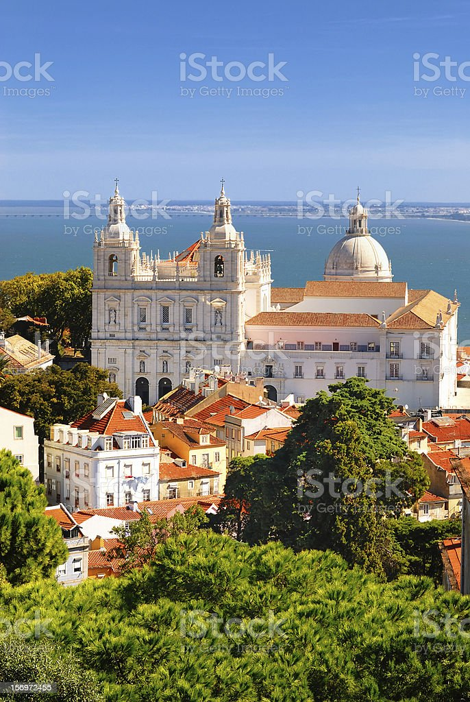Aerial view of Lisbon and its buildings stock photo