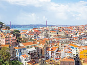 Aerial view of Lisbon, the capital of Portugal