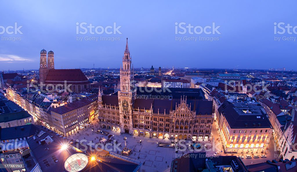 Aerial view of lit city of Munich at evening stock photo