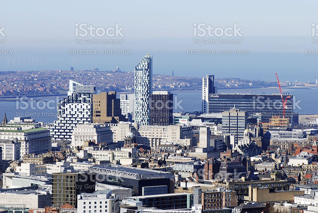 Aerial view of Liverpool from Cathedral's top royalty-free stock photo