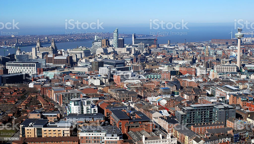 Aerial view of Liverpool stock photo