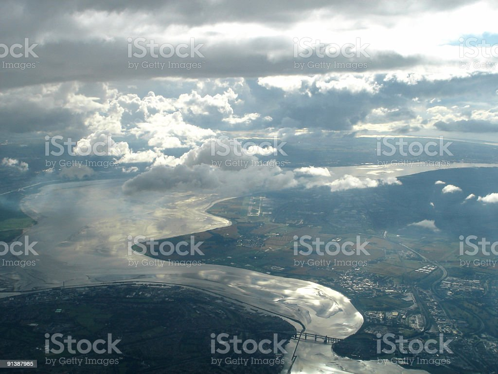 Aerial view of Liverpool, River Mersey stock photo