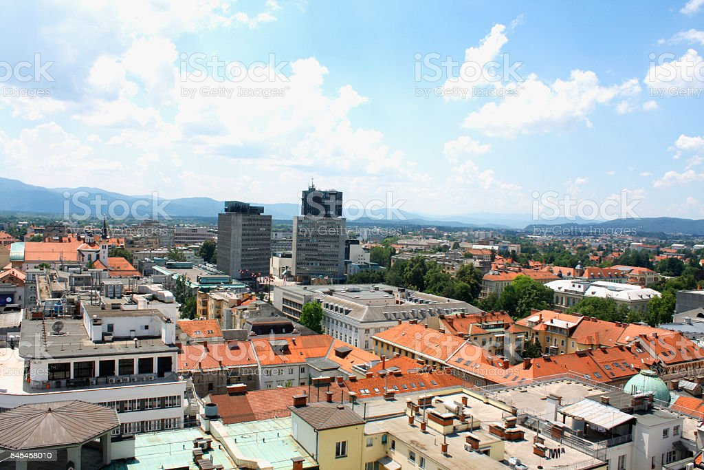 Aerial view of Ljubljana in Slovenia in a summer day stock photo