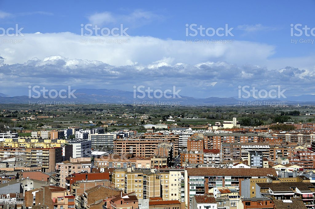 Aerial view of Lleida stock photo