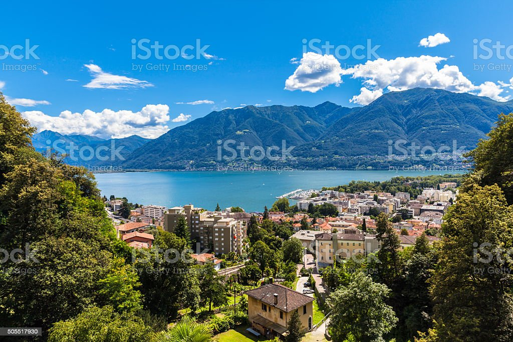 Aerial view of Locarno city and Mggiore lake stock photo