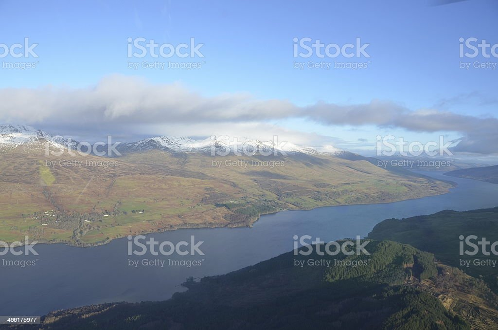 Aerial View of Loch Tay stock photo