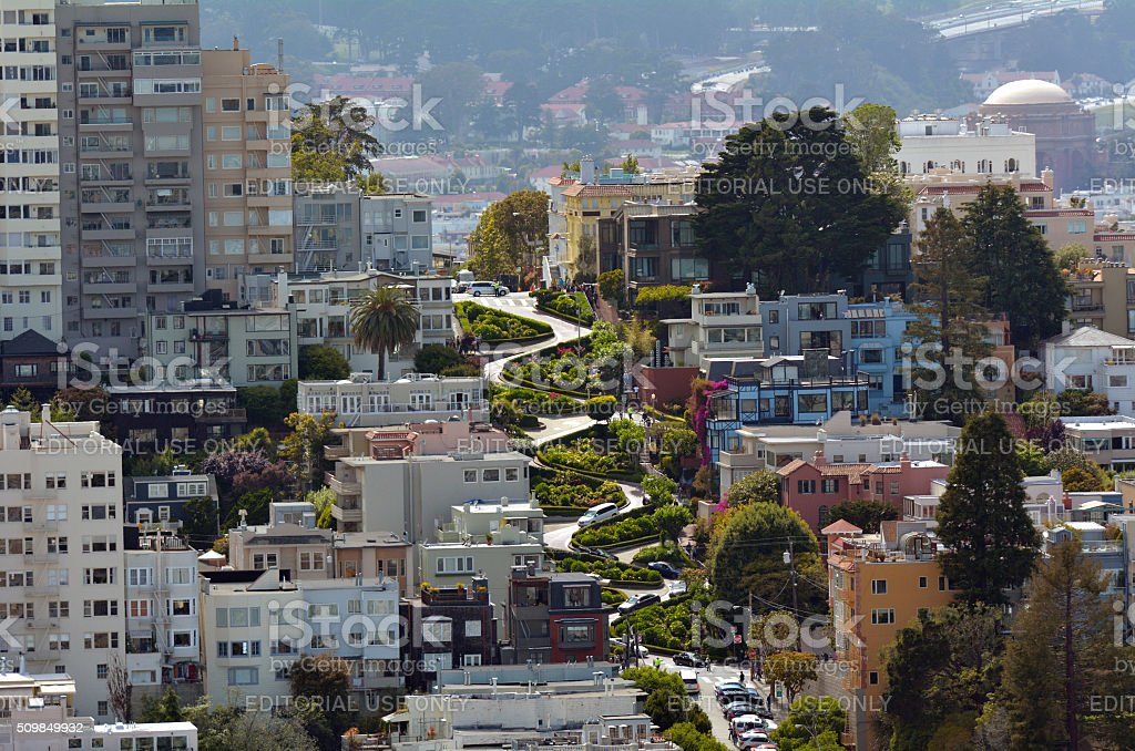 Aerial view of Lombard Street in San Francisco, California stock photo