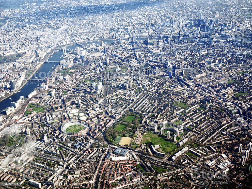 Aerial view of London and the River Thames stock photo