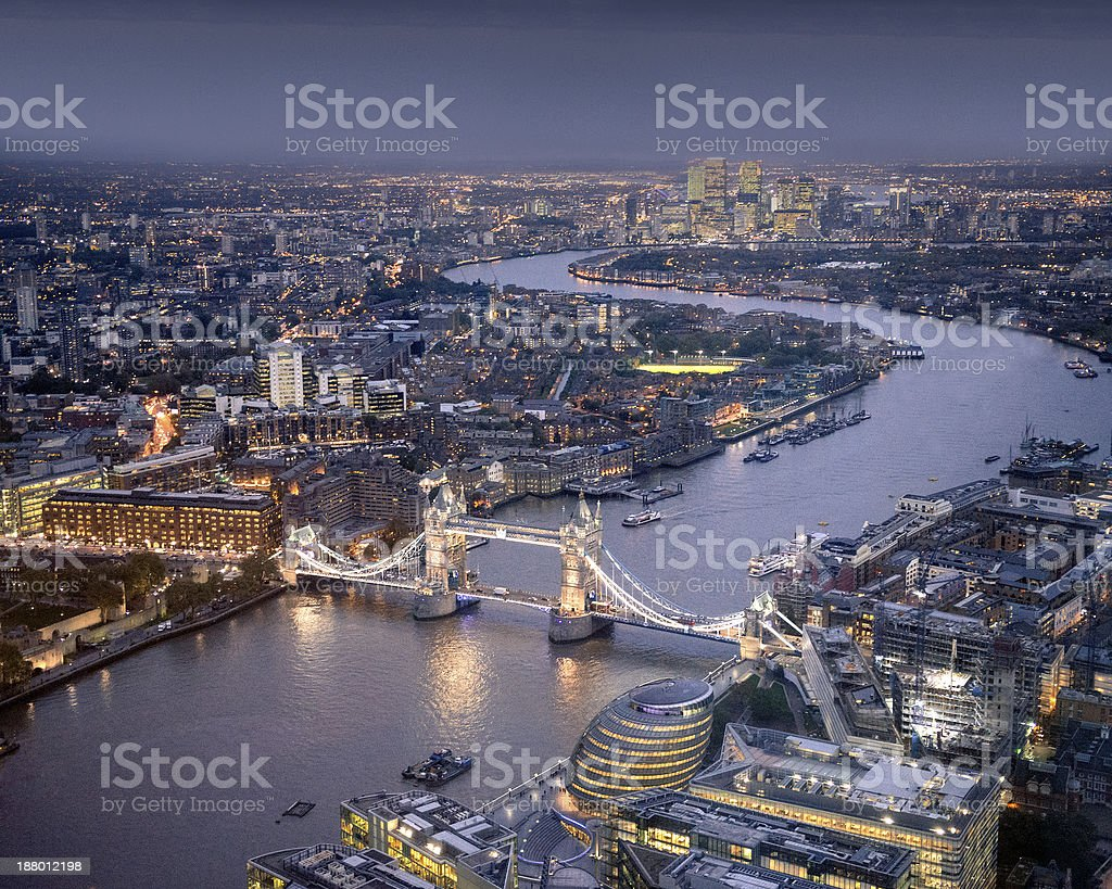 Aerial view of London at night, England, UK stock photo