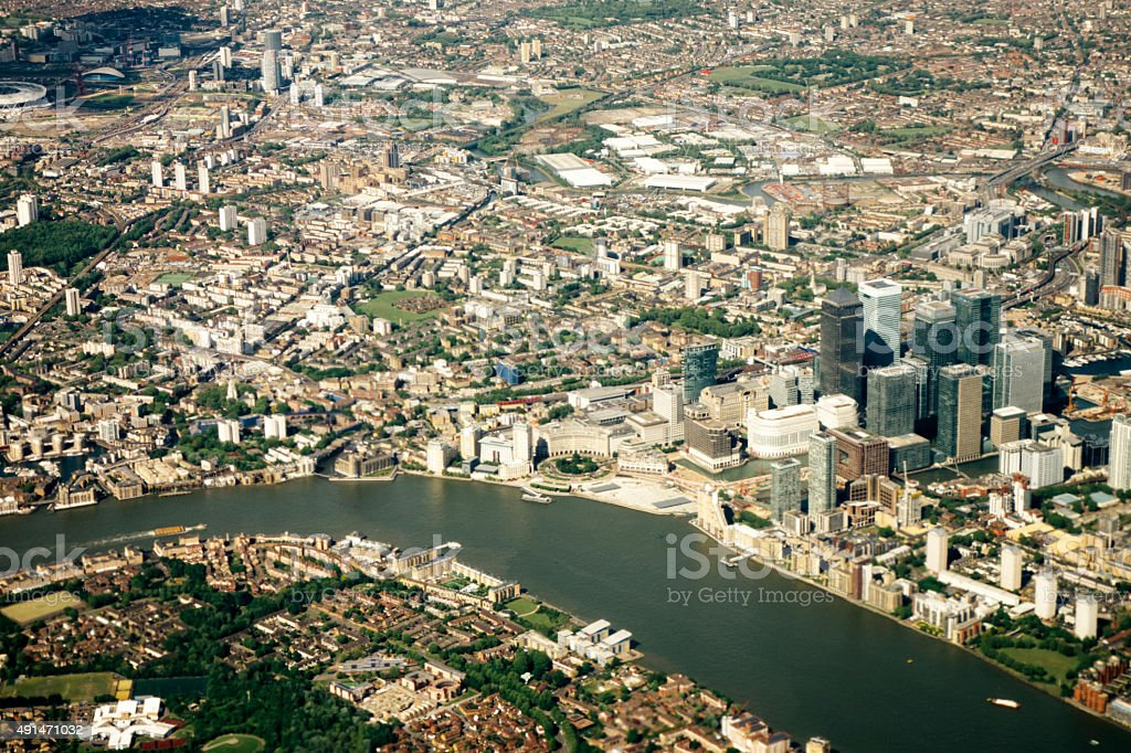 Aerial view of London, Canary Wharf and Docklands stock photo