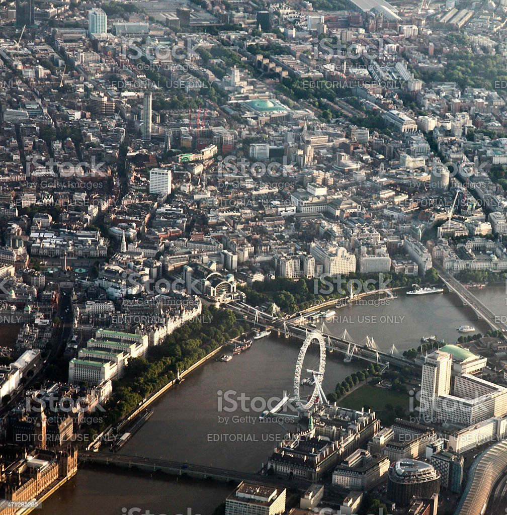 Aerial view of London, featuring London_Eye stock photo