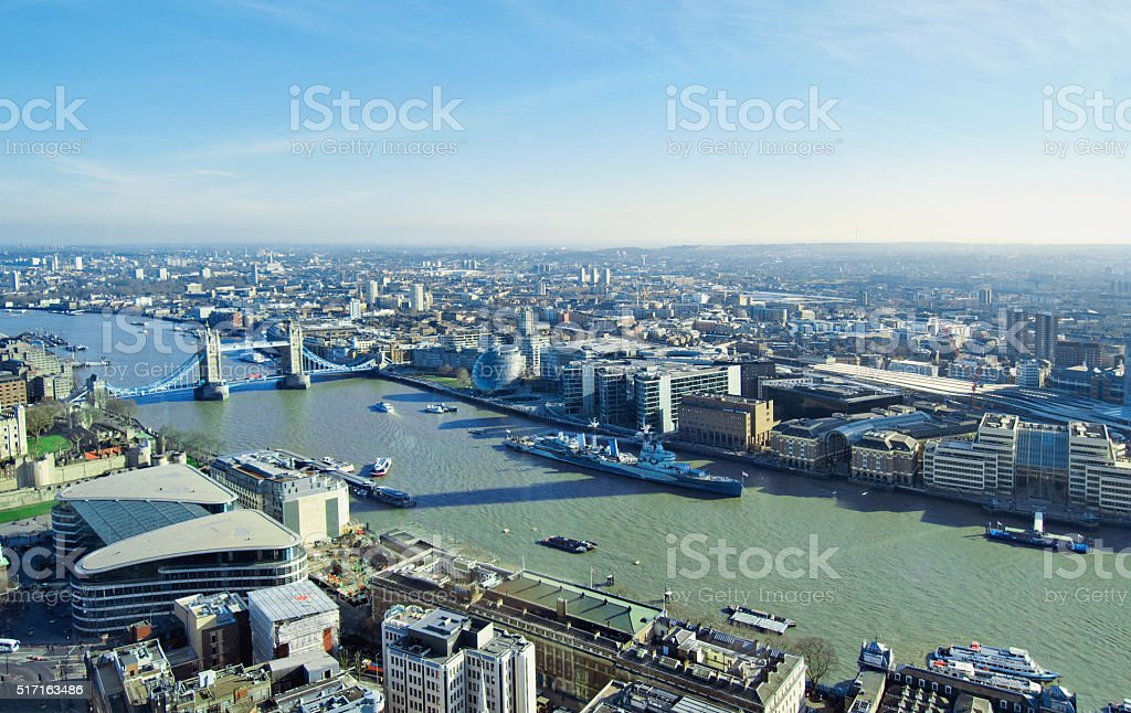 Aerial View of London stock photo