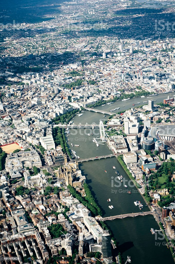 Aerial view of London, River Thames, Waterloo to Lambeth Bridge stock photo