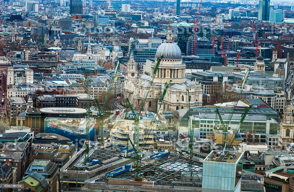 Aerial view of London Skyline and St Paul's Cathedral stock photo