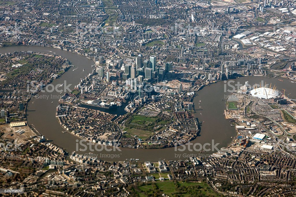 Aerial view of London, United Kingdom stock photo