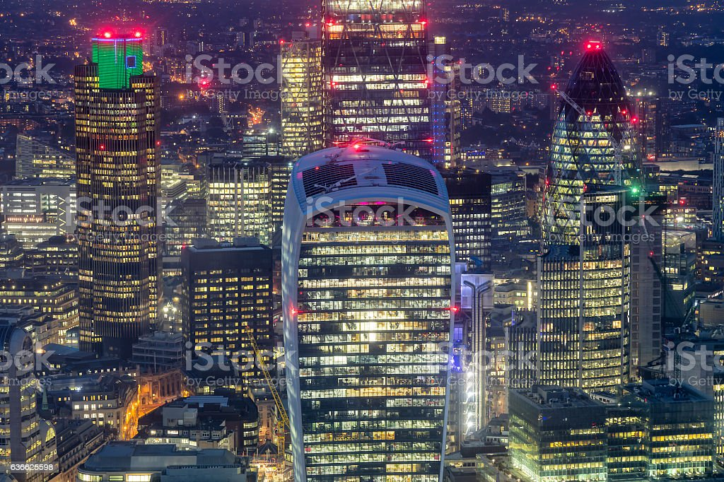 Aerial View of London's Financial District at Night, UK stock photo