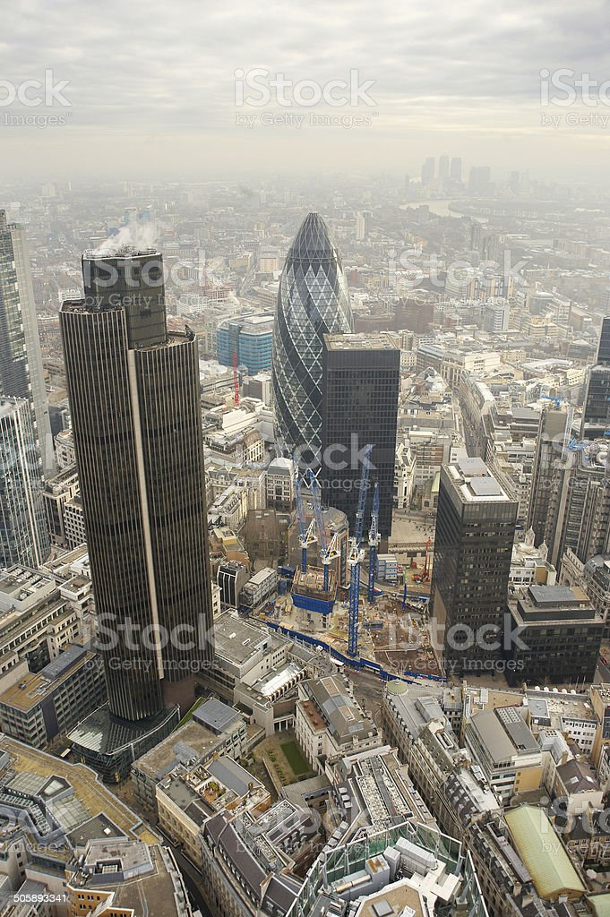 Aerial View of London's Financial District stock photo