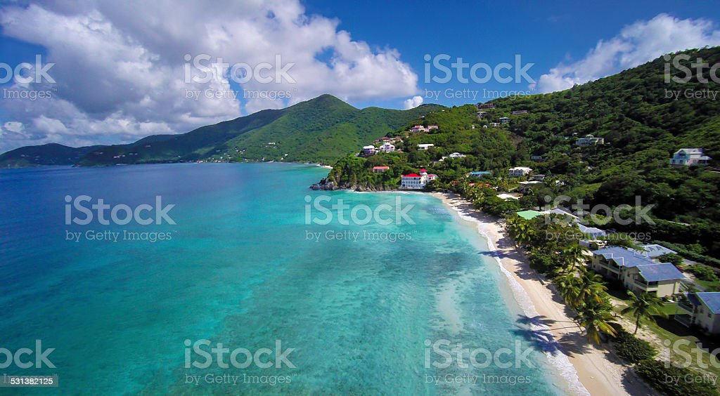 aerial view of Long Bay Beach, Tortola, British Virgin Islands stock photo