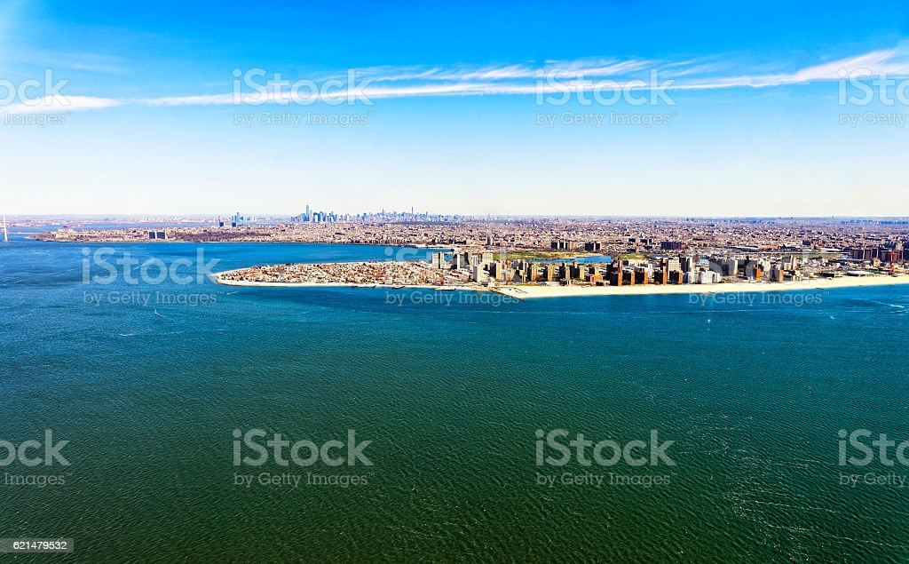 Aerial view of Long Island in New York stock photo
