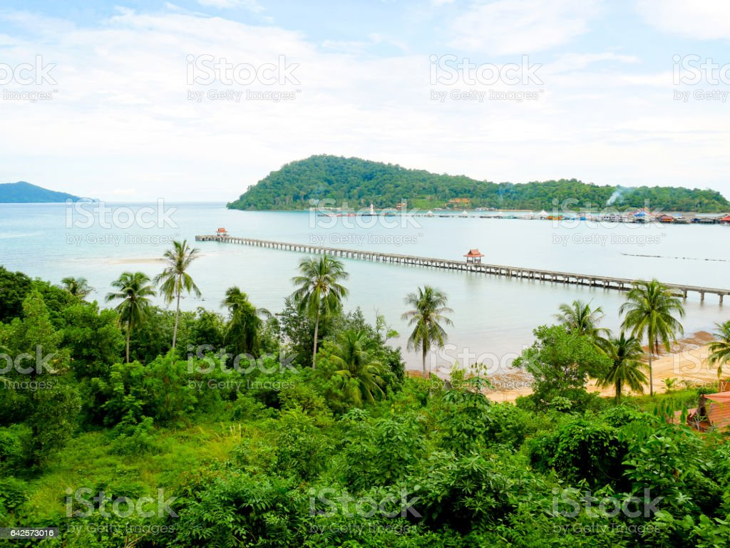 Aerial view of long jetty and beautiful nature stock photo