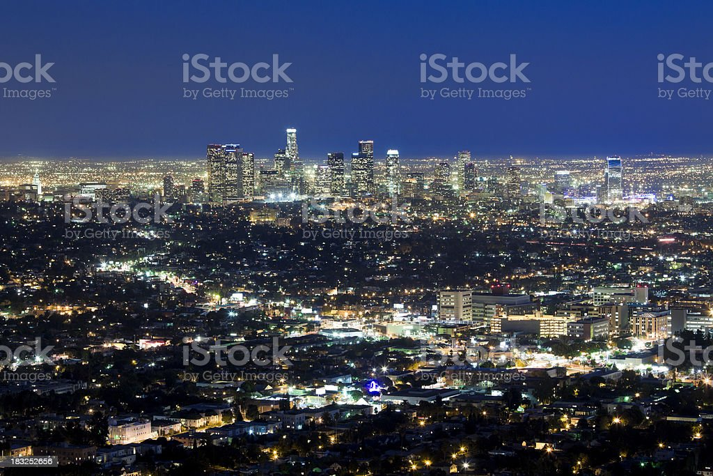 Aerial View of Los Angeles at Dusk royalty-free stock photo