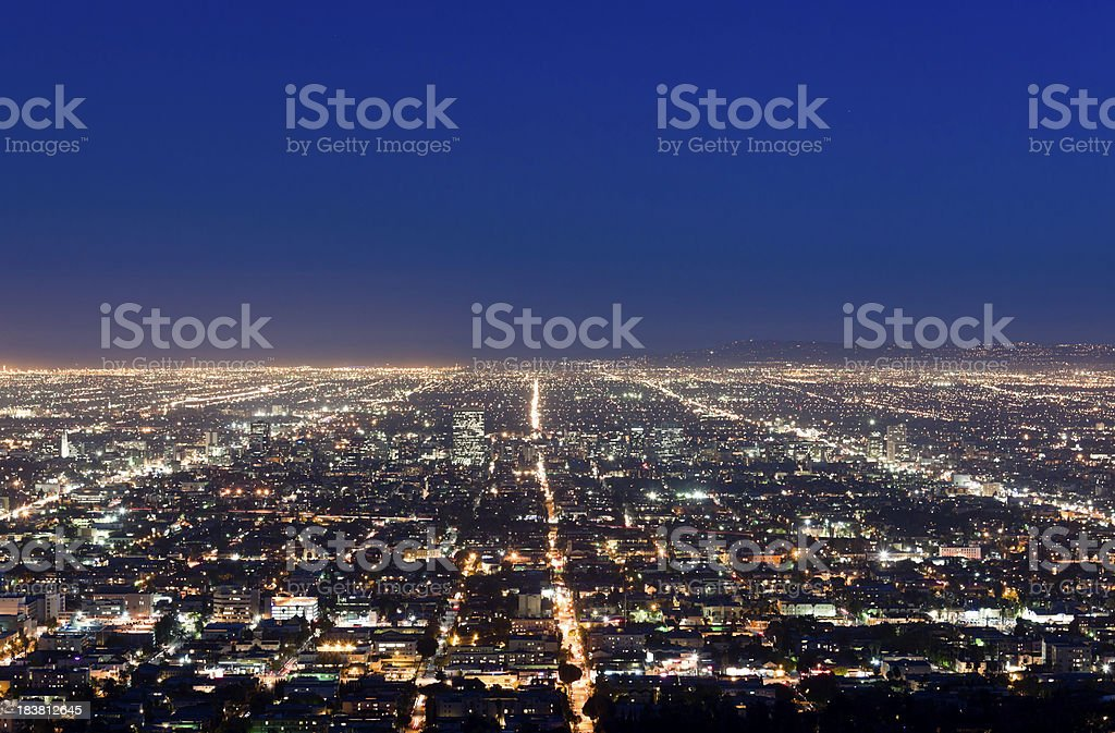Aerial View of Los Angeles at Twilight royalty-free stock photo