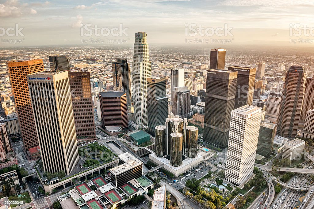 Aerial view of Los Angeles city stock photo