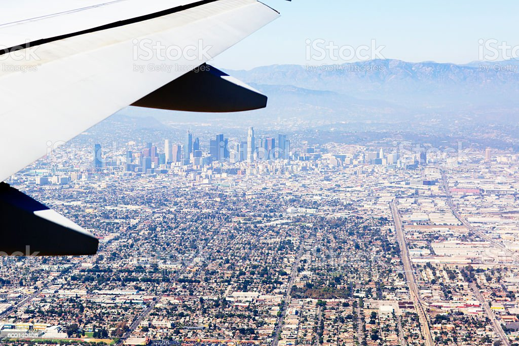 Aerial view of Los Angeles in the United States. stock photo