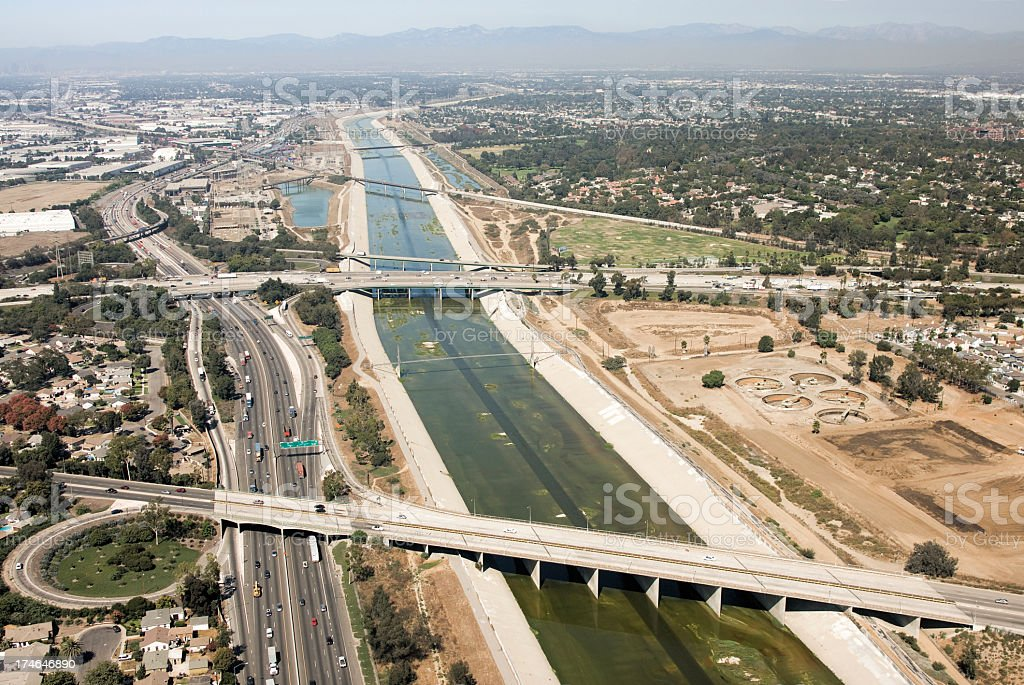 Aerial view of Los Angeles river stock photo