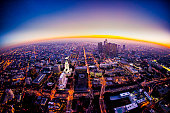 Aerial View of Los Angeles Skyline at Sunset
