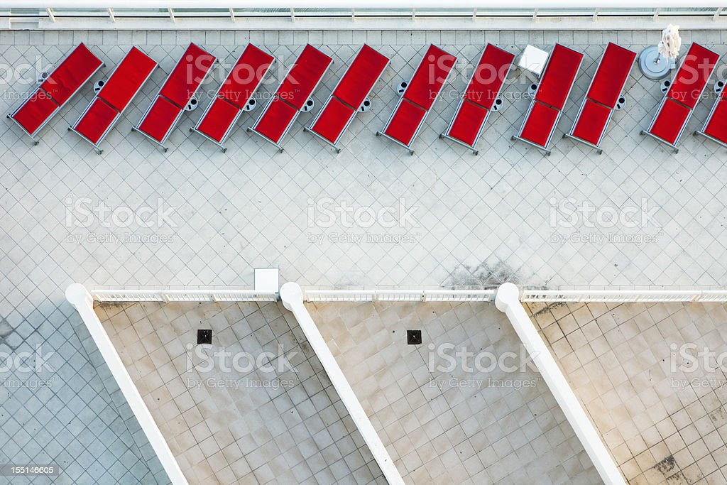 aerial view of Lounge Chairs royalty-free stock photo