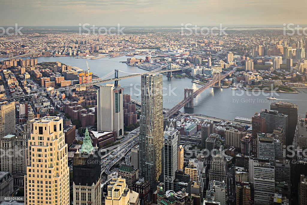 Aerial view of Lower Manhattan financial district stock photo