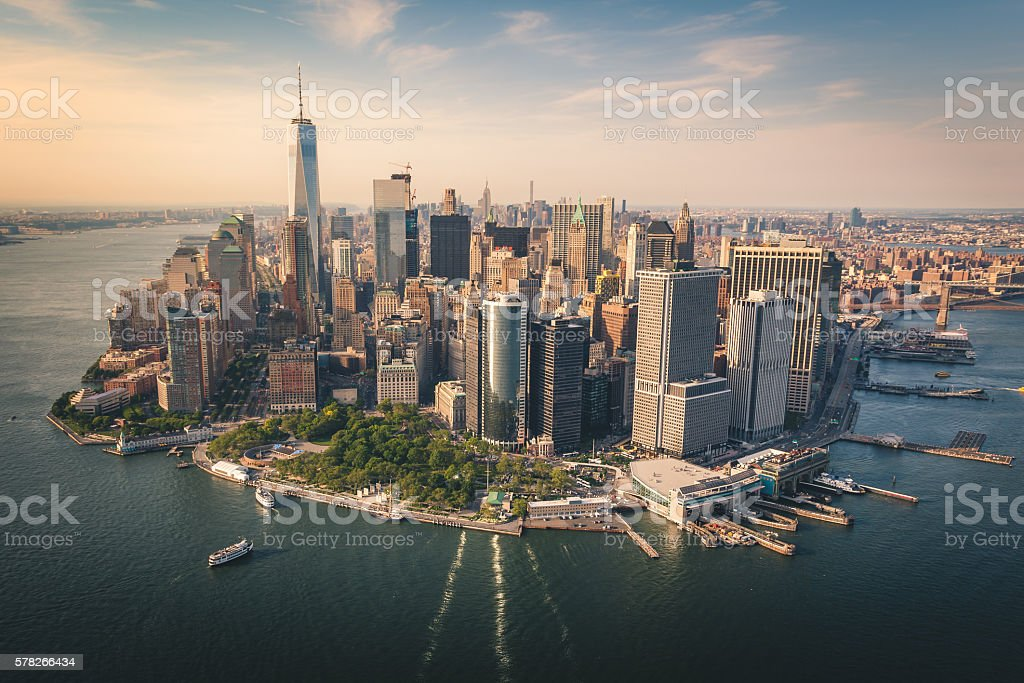 Aerial View of Lower Manhattan from a Helicopter royalty-free stock photo