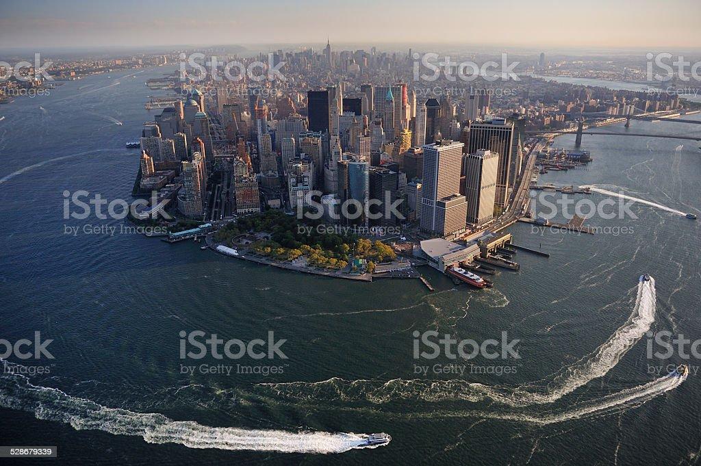 Aerial view of Lower Manhattan, New York stock photo