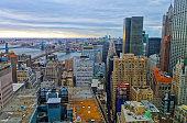 Aerial view of Lower Manhattan of New York