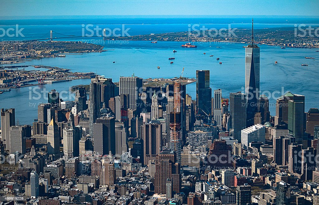 Aerial View of Lower Manhattan stock photo