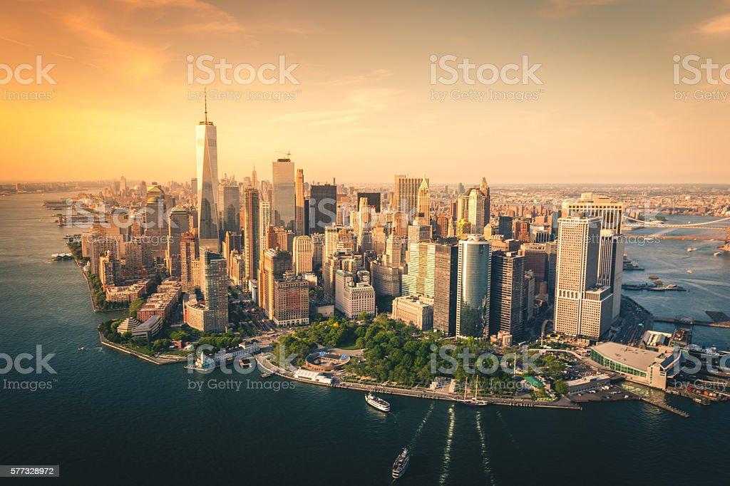 Aerial view of lower Manhattan Skyline royalty-free stock photo