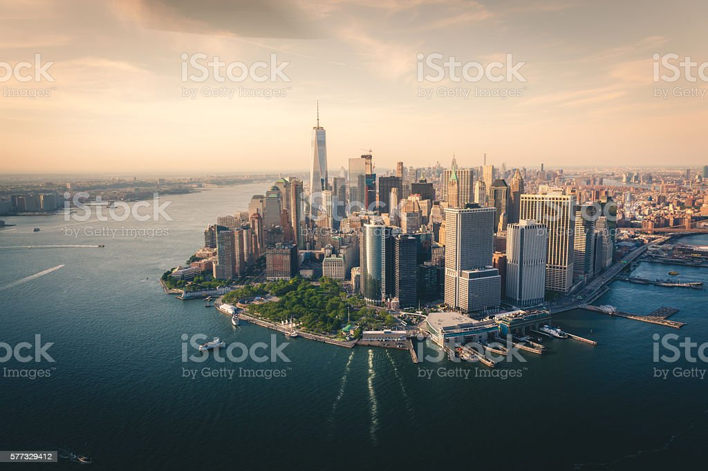 Aerial view of lower Manhattan Skyline stock photo