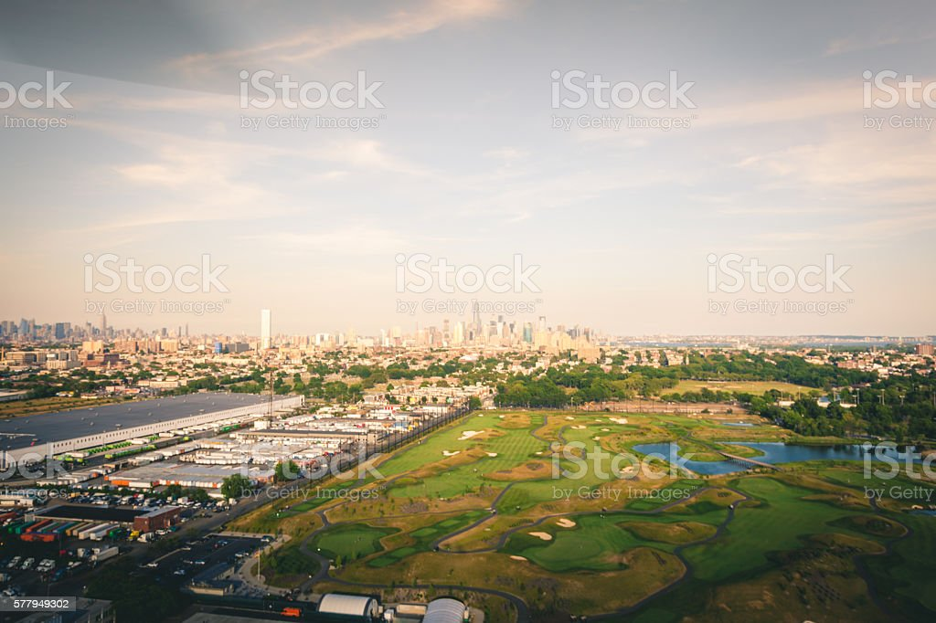Aerial view of lower Manhattan Skyline taken from a helicopter royalty-free stock photo