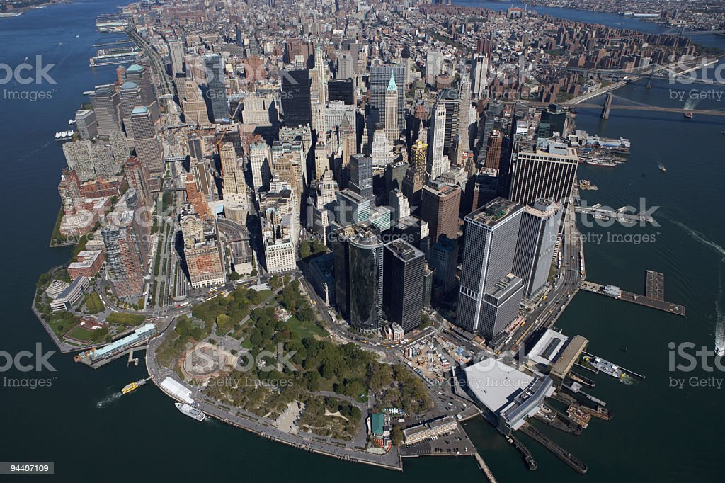aerial view of lower manhatten stock photo