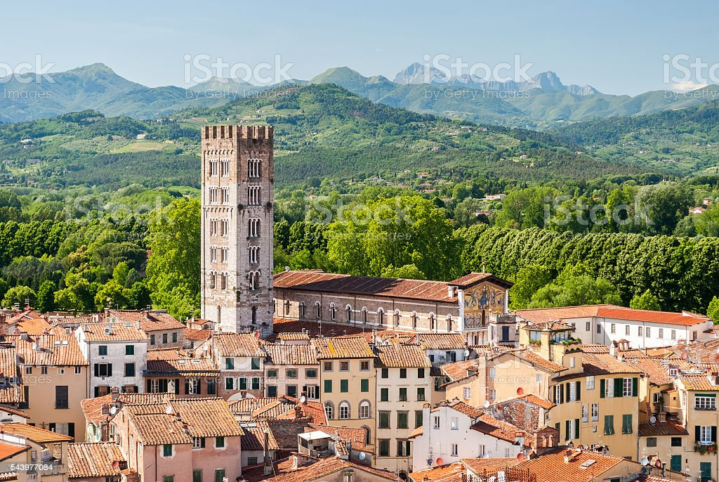 Aerial view of Lucca (Tuscany, Italy) during a sunny afternoon stock photo