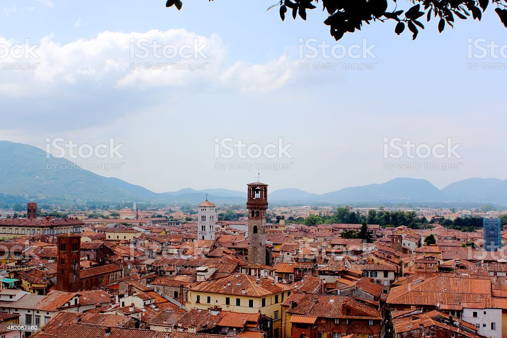 Aerial View of Lucca stock photo