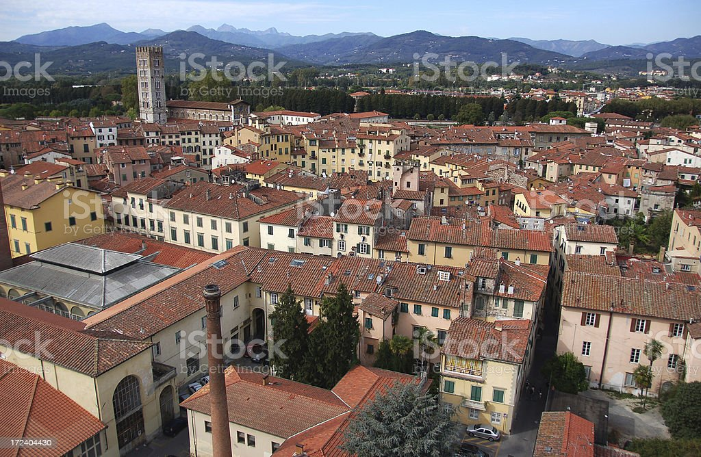 Aerial view of Lucca's cityscape (Italy) royalty-free stock photo