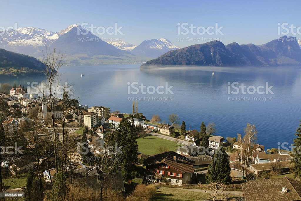 Aerial view of Lucerne lake royalty-free stock photo
